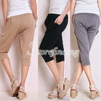 Stretchy Women's Cropped Nylon Active Sports Gym Yoga Trousers 1 Size Gift GF