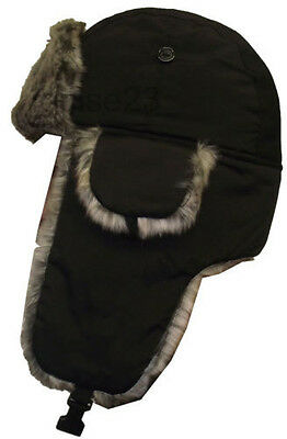 M Warm Winter Faux Fur Black Aviator / Russian Ushanka Hat Men Xmas Gift Dad Son