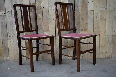 Retro Vintage Pair Of Arts And Crafts Solid Wooden Occasional Chairs