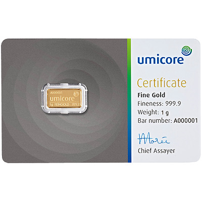 Umicore 1g Gram Fine Gold Bar Bullion 999.9