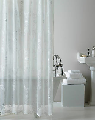 Lace Luxury Shower Curtains,complete With Hooks,in This Lovely White Colour