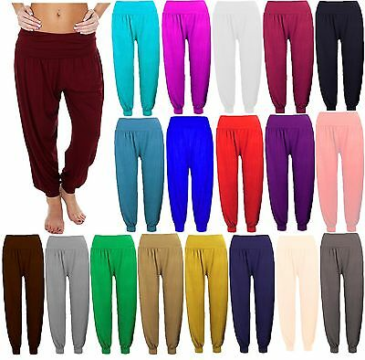 Women Girls Plain Full Length Hareem Ali Baba Pants Baggy Trouser Harem Legging