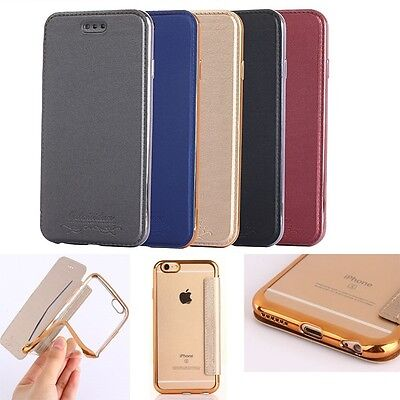 Luxury Ultra Slim Flip Book Style PU Leather Case Silicone Cover For Many Phone