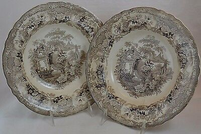 Transferware Set of 2 Rimmed Soup Sicilian Brown Each have a light crack