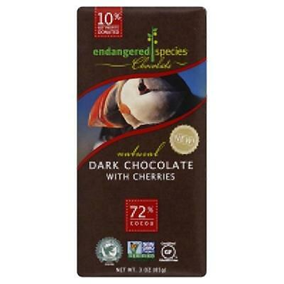 Endangered Species Natural Dark Chocolate With Cherries Bar 3 Ounce (Pack Of 12)