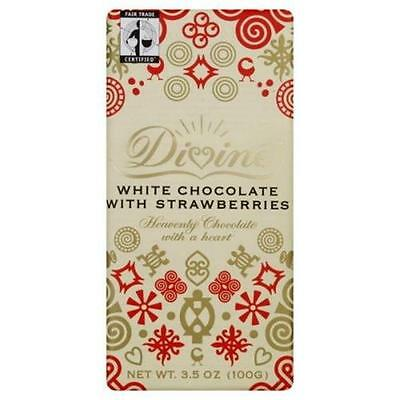 Divine Chocolate White With Strawberries 3.5 Oz -Pack of 10