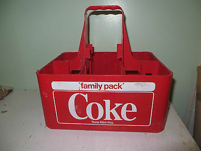 Vintage Red Plastic 6 Bottle Coca Cola Coke Carrying Case