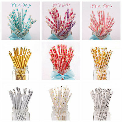 25x Retro Stripe Polka Dot Vintage Fruit Paper Drinking Straws Wedding Party Dec