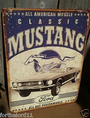 FORD MUSTANG CLASSIC Tin Metal Sign Wall Auto Shop Garage Bar Vintage