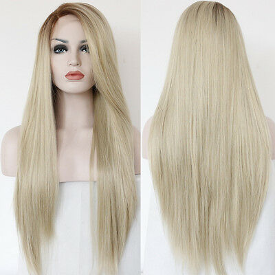 Long Wavy 60 Synthetic Lace Front Wig Light Blonde Full Hair Wigs Heat Resistant