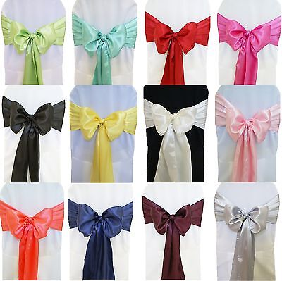 1 30 10 50 100 Satin Sashes Chair Cover Bow Sash WIDER FULLER BOWS Wedding Party