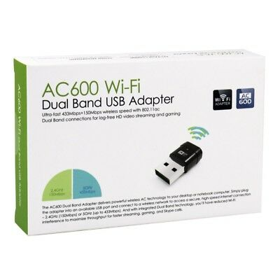 AC600 Wireless Dual Band 2.4G 5G 5GHz 802.11AC USB Wifi Dongle Network Adapter