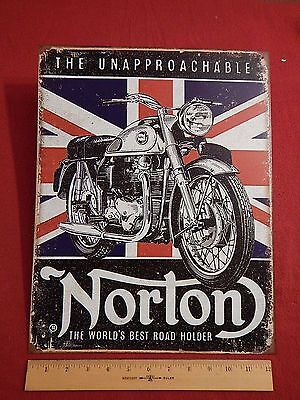 Unapproachable Norton Motorcycle  Metal Sign Display Union Jack