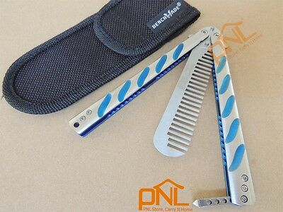 1PC Comb Blue Titanium Handle Practice BALISONG BUTTERFLY Knife Trainer