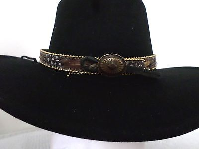 Feather Hatband Brn/wh/gray Inlaid Feathers Adjustable Western Express Free Ship