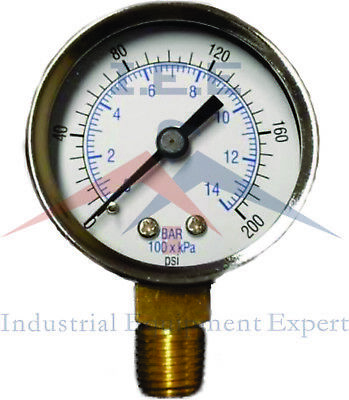 "Air Compressor Pressure / Hydraulic Gauge 2"" Face Side Mount 1/4"" NPT 0-200 PSI"