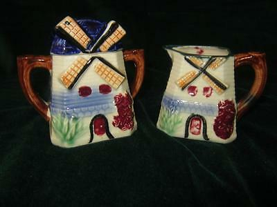 Dutch Holland Windmill Shaped Covered Sugar & Creamer Vintage