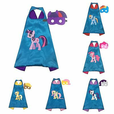 My Little Pony Superhero Kids Cape & Mask Costume Halloween Party Rainbow Dash