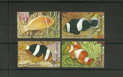 Thailand  Fishes Anemon Clowns Complete Set Mnh 1999