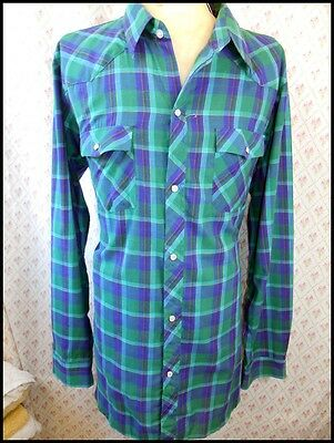 Vintage 70/80s Blue Green Plaid Poly/Cotton Western Cowboy Shirt Pearl Snaps XXL