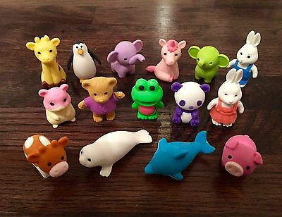 Mixed Set Of 4 Genuine Iwako Erasers. Rubbers / Party Bag / Cute Animal Puzzle
