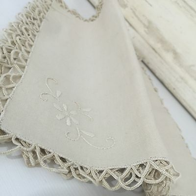 ANTIQUE Serviettes Linen Embroidered Edge Floral Stitching in Corners x 6