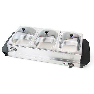 Stainless Steel 3-Station Electric Buffet Server and Warming Tray Combination
