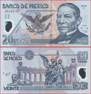 Mexico 1st Prefix Series A 2Bar 20 Peso First North American Polymer Issue p116a