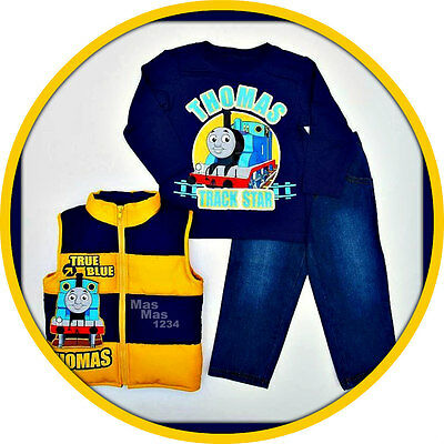 Thomas The Train Toddler Baby Boy 3PC Vest Top Jeans Set - NEW - 18 or 24 months