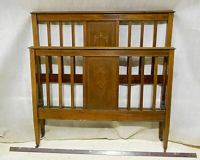 ANTIQUE VICTORIAN MAHOGANY DOUBLE BED TRADITIONAL SLAT BED c1880-1900