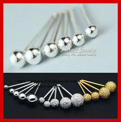 925 Sterling Silver Solid Small Plain & Stardust Ball Bead Earring Piercing Stud