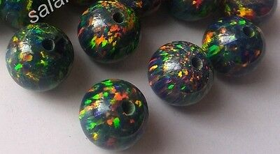 Lab Created Synthetic Black Opal - Ball Beads Half-drill Loose stone (4mm-8mm)