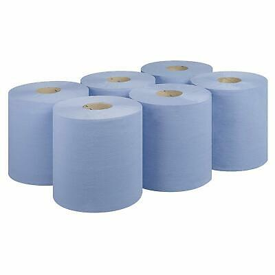 1 Pk OF 6 BLUE CENTRE FEED ROLL PAPER TISSUE TOWEL KITCHEN 80M x 175mm EMBOSSED