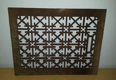 "Vtg VICTORIAN Cast Iron Floor Wall Grille Heat Grate Register 13.5"" x 10.7"""