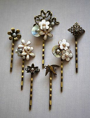Pearl Hair Pin Grip Clips Slides Bobby Vintage Accessories Beads Antique Bronze