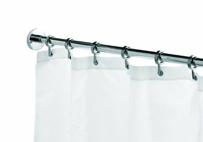 Croydex Round Section Shower Curtain Rod With Rings Maximum Length 2500mm Chrome