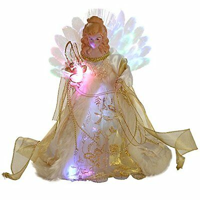 WeRChristmas 30 cm Fibre Optic Christmas Tree Topper Angel, Cream/ Gold