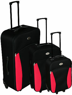 3 Pcs Trolley Set Travel Suitcase Baggage Luggage Light 2 Checked Bags + 1 Cabin