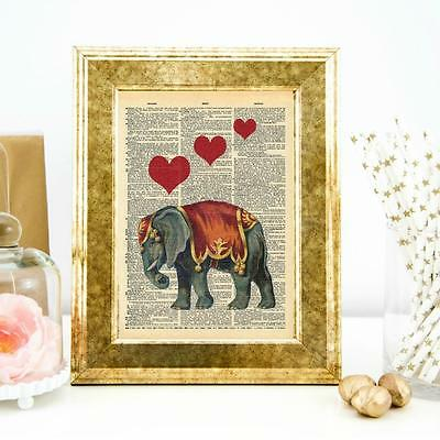 Vintage Style Elephant 2 Dictionary Wall Art Print Quote Print Home Office Decor