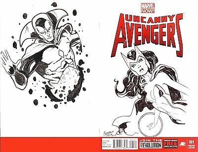 Uncanny Avengers #1 - Scarlet Witch and The Vision Blank Cover Sketch