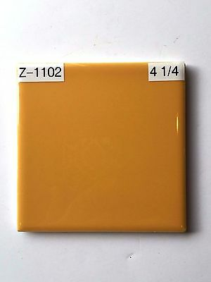 "(Z-1102)  1 Pc NOS Vintage Ceramic Floor Wall Tile 4 1/4"" Pumpkin Orange Glossy"