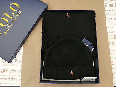 72993ec29ef ... where can i buy polo ralph lauren cuffed beanie scarf set black wool  2in1 gift box