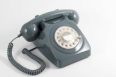 Retro Phone Curly Corded Traditional Rotary Dial Bell Ring Telephone Grey Vintag