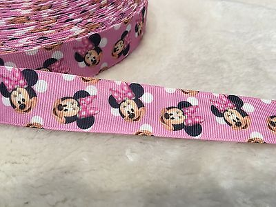 25mm Minnie Mouse Grosgrain Ribbon Craft Cake Decoration Bows 1Meter