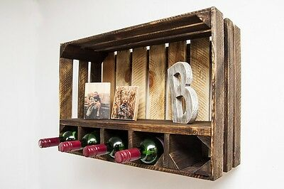 Rustic Modern apple crate wine rack with shelf