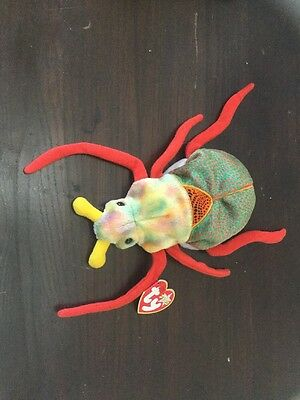 """Ty SCURRY Beetle Scarab Bug (6"""") Beanie Baby 2000 Boys Girls 3+ NT"""