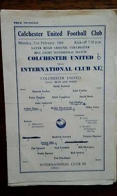 Colchester V International Club X1 21/2/1966 Bill Light Testimonial