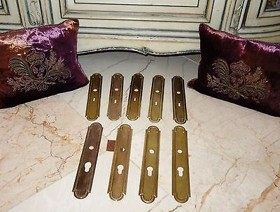 FRENCH ANTIQUE SET OF 9 pc BRASS DOOR KNOB BACK PLATES FINGER PLATES