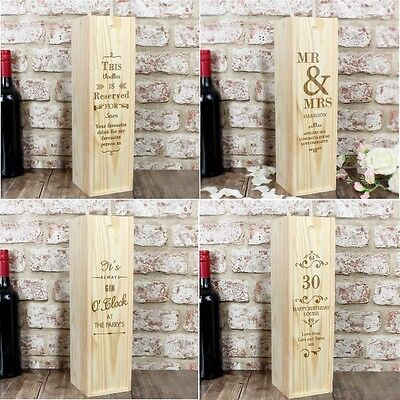 PERSONALISED Wooden Wine Spirit Champagne Presentation Box For All Occasions