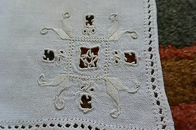 Vintage ESTATE Set 9 Needle Lace LINEN Dinner NAPKINS Italian Cutwork Embroidery